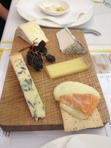 The Smelly Cheese Shop tasting selection, clockwise from top right, Valencay or soft (ripened goats cheese), Beaufort D'Alpage (similar to gruyere), Affidelice ( there are no words to describe how fabulous this one is,  Colston Bassett Stilton (blue vein cheese) and Camembert.